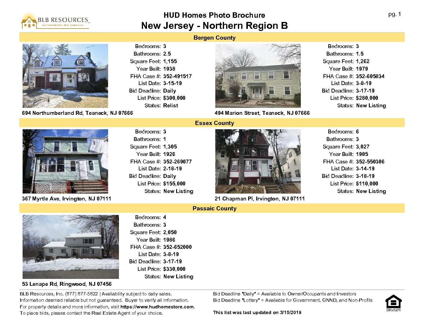 March 15 2019 New Jersey Northern Region Hud Home Listing