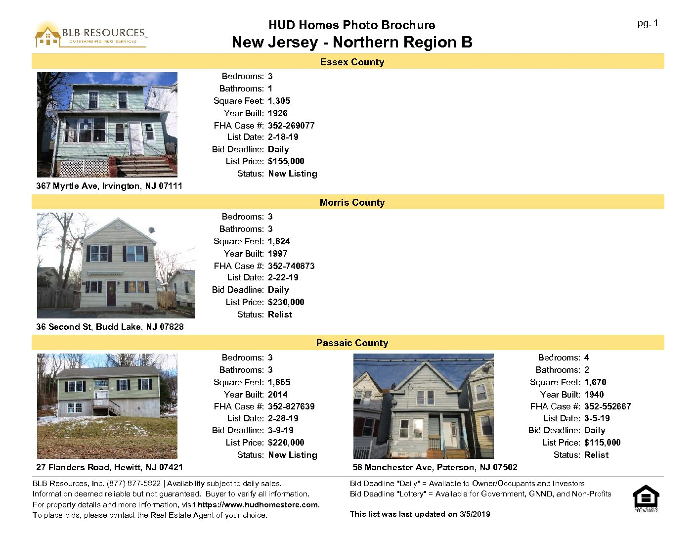 March 5 2019 New Jersey Northern Region Hud Home Listing